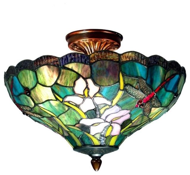 Dale Tiffany 2-Light Savannah Flush Mount, Antique Brass.