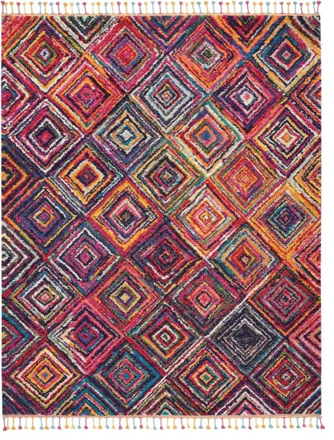 """Nourison Moroccan Casbah Red And Multicolor Area Rug, 7&x27;10""""x10&x27;6""""."""