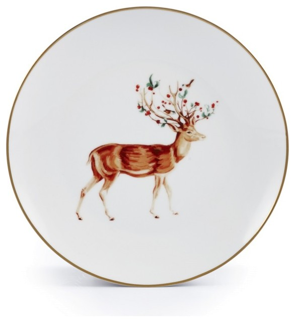 "8"" Holiday Christmas Rudolph Plates, Set Of 4."