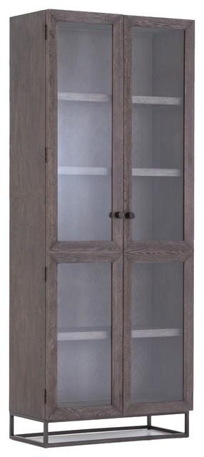 Garner Aged Oak Wood Glass Door Display Cabinet Industrial China