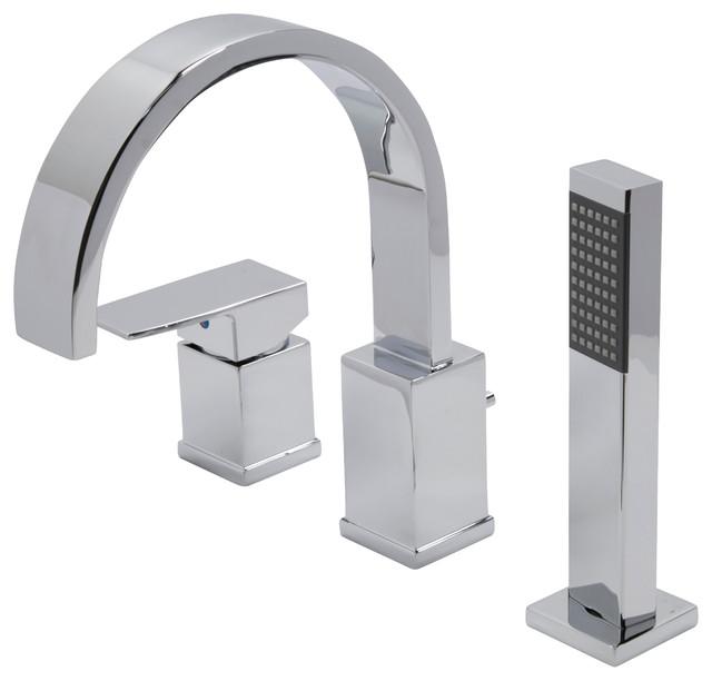 ANZZI Nite Series 1 Handle Deck Mount Roman Tub Faucet With Handheld Sprayer