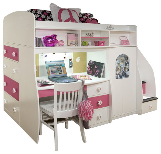 Berg Furniture Play And Study Twin Loft Bed Transitional Kids Beds By Homesquare