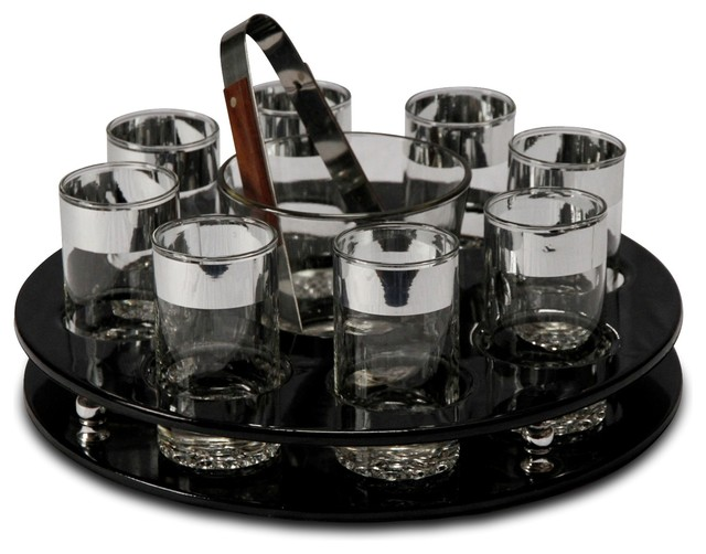 Black Patent Leather Barware Set