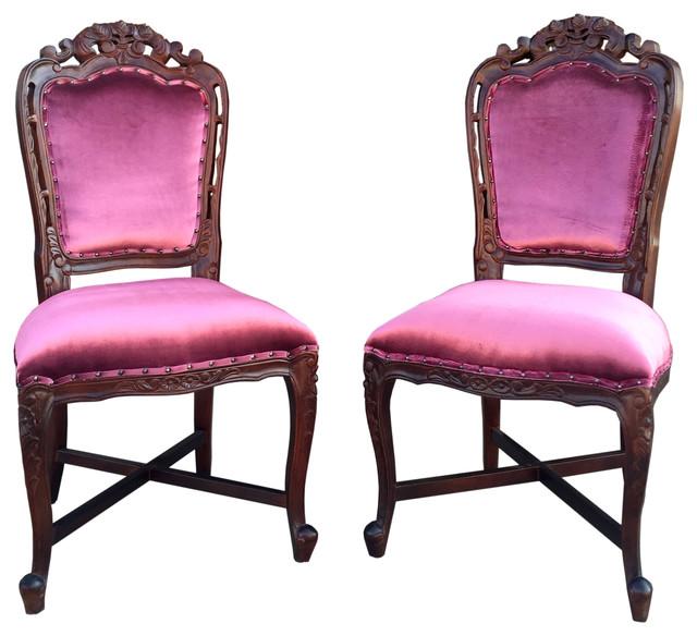 Moselle Plush Side Chairs, Purple Velvet, Set Of 2.