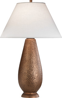 beaux copper table lamp copper oyster linen transitional table lamps b. Black Bedroom Furniture Sets. Home Design Ideas