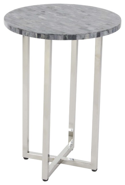 Contemporary Round Wood And Stainless Steel Accent Table, Gray.