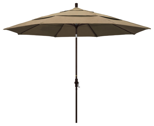11 Aluminum Umbrella Collar Tilt Bronze Sunbrella Heather Beige Contemporary Outdoor Umbrellas By Homesquare