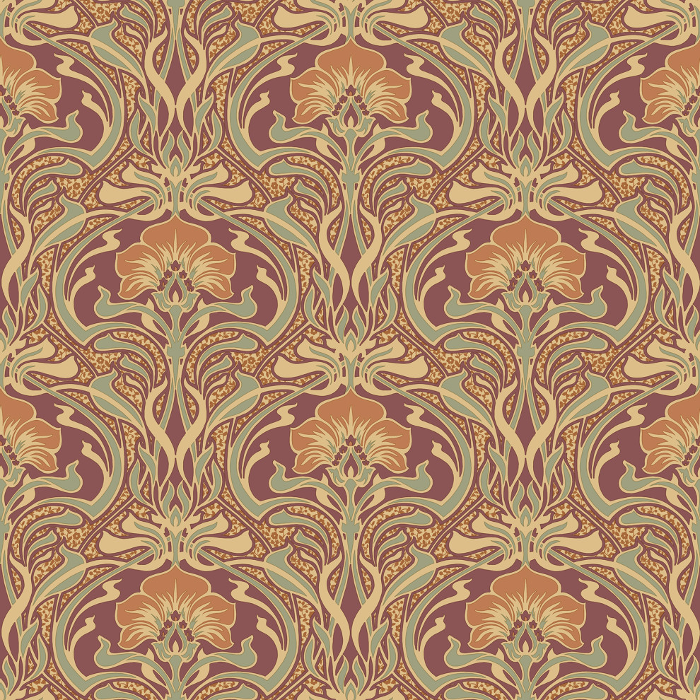 Donovan Burnt Sienna Nouveau Floral Wallpaper Sample Traditional Wallpaper By Brewster Home Fashions