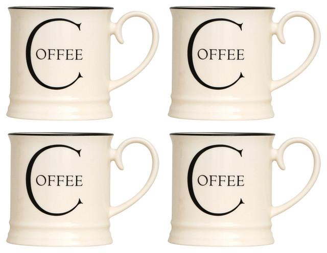 Fairmont and Main Script Kitchen Tankard Mugs, Set of 4, Coffee