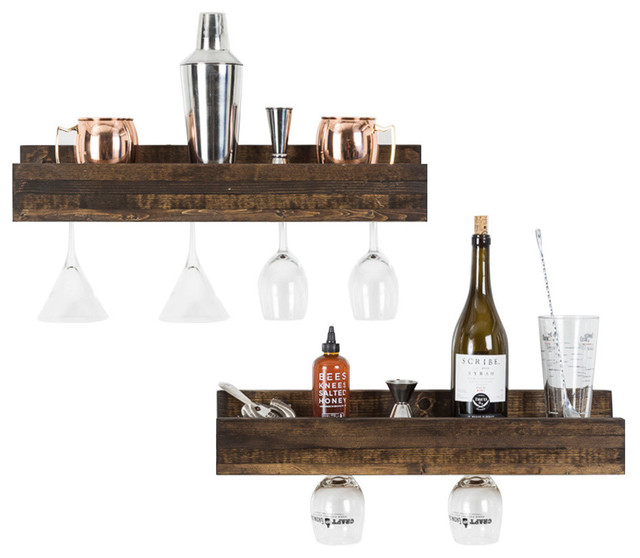 Small Luxe Wine Glass Shelves Set Of 2 Rustic Wine Racks By