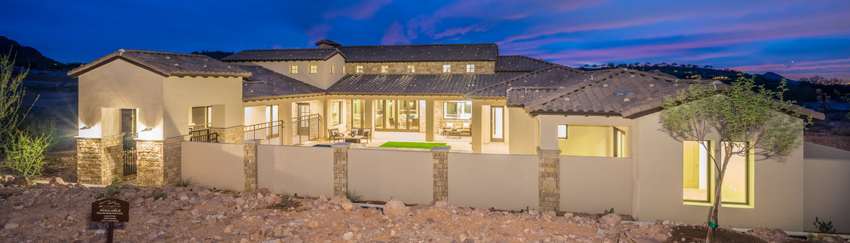 Mediterranean Style Exterior Superstition Mountain Country Club Home