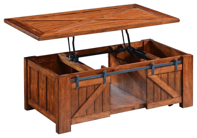 Magnussen Home Furnishing   Magnussen Harper Farm Rectangular Lift Top  Cocktail Table With Casters
