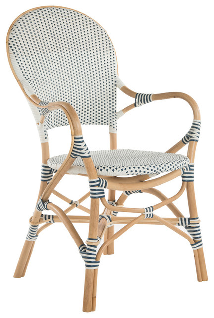 Charmant Rattan Bistro Dining Chair, White And Blue, Set Of 2 Chairs, With Arm