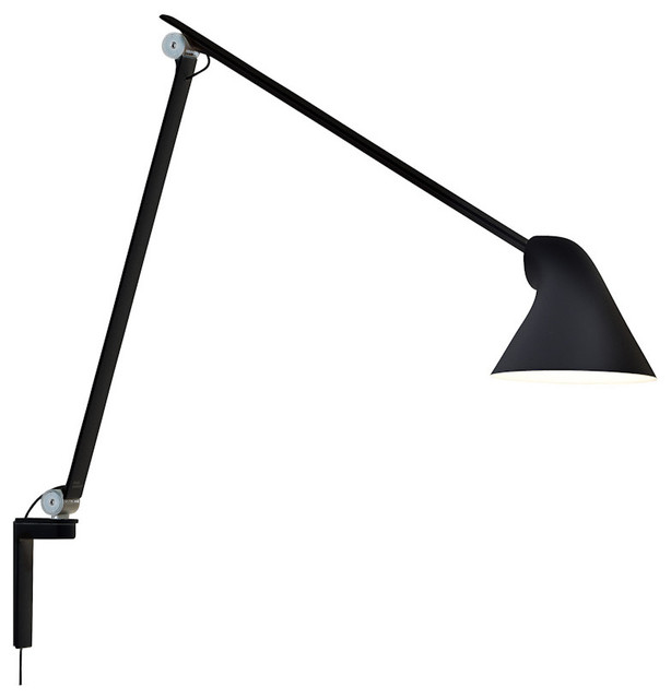 njp wall lamp long arm black 2700k