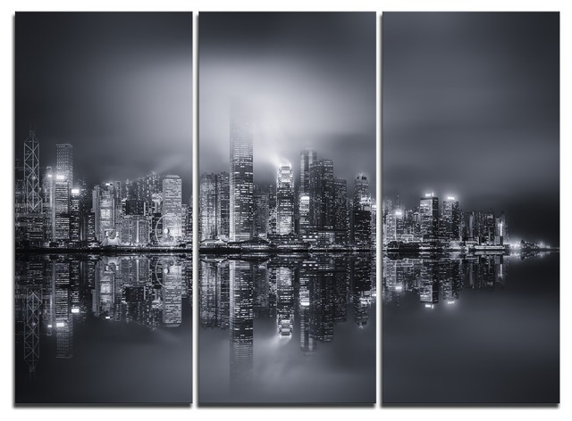 Hong kong black and white panorama artwork canvas 3 panels 36