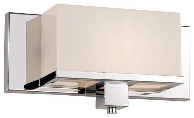 1 light cube wall sconce polished chrome and acrylic bathroom vanity lighting - Bathroom Vanity Sconce