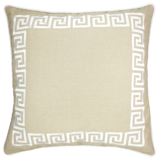 Wave Key Beige Modern Greek Throw Pillow