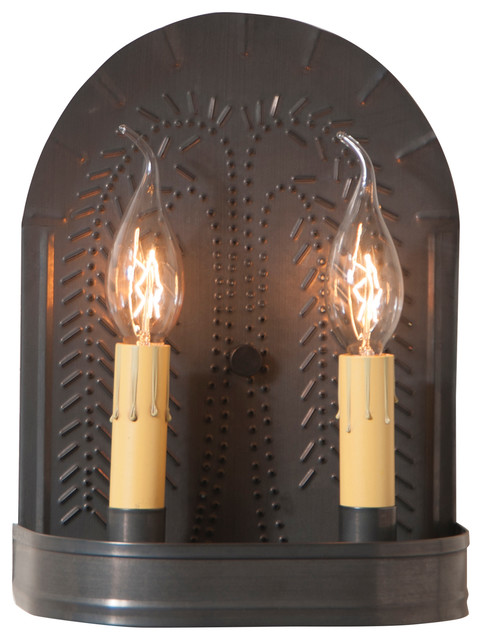 Country new black tin Wndowsill candle holder