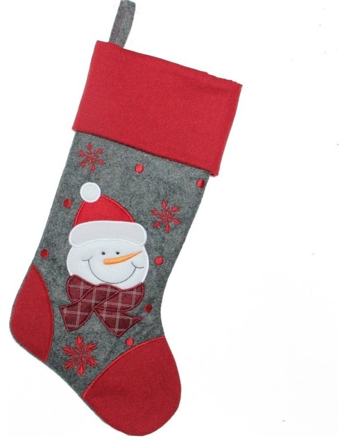 Victorian Christmas Stockings.18 Gray And Red Embroidered Snowman Christmas Stocking