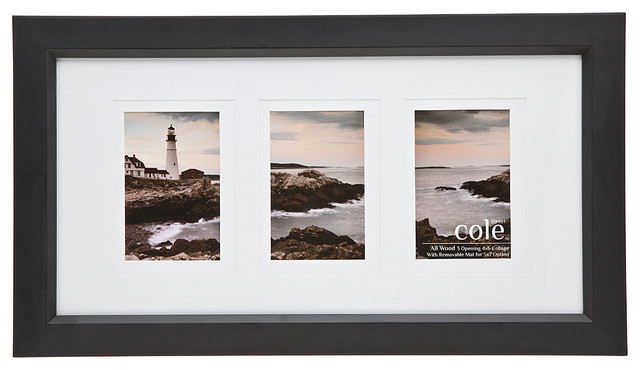 3 Photo Black Wood Frame With Double Mount 4x6 Modern
