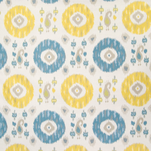 Citrus Yellow Blue Ikat Medallion Geomet Upholstery, Fabric by the ...