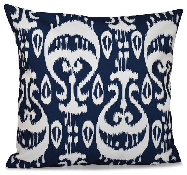 "Ikat , Geometric Outdoor Pillow, Navy Blue, 20""x20"""