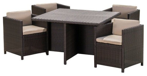 Pueblo Outdoor Wicker 5-Piece Dining Set With Water Resistant Cushions.