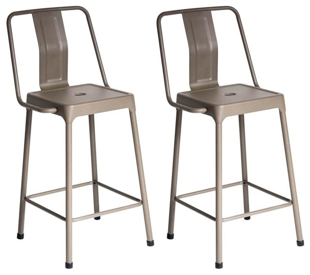 Lumi Source Style Energy Counter Stools, Set of 2, Cappuccino