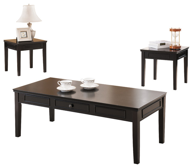 Lift Top Coffee Table Art Van: 3-Piece Black Finish Wood Coffee Table And 2 End Tables