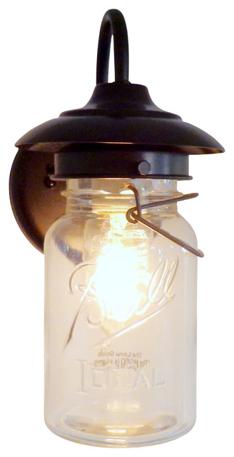 Exterior Vintage Mason Jar Sconce Light Oil Rubbed Bronze transitional- outdoor-wall-  sc 1 st  Houzz & Exterior Vintage Mason Jar Sconce Light - Transitional - Outdoor ... azcodes.com