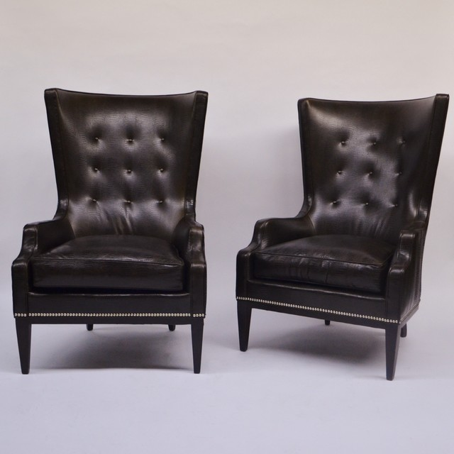 Pair Of Hickory Chair Living Room Elliott Wing Chairs Traditional Armchairs And Accent