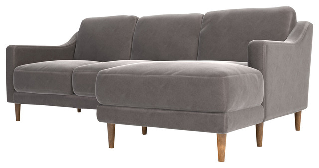 Nesta Gray Velvet Sectional, Right Facing.