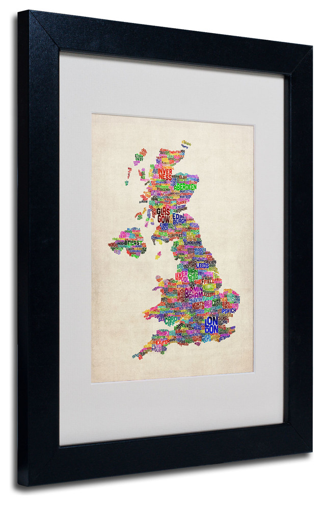 Uk Cities Text Map Matted Framed Canvas Art By Michael Tompsett Transitional Prints And Posters By Trademark Global