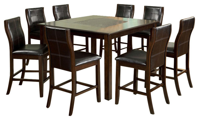 Baine Cherry Finish 9 Piece Counter Height Dining Table Set, Mosaic Insert  Top Traditional