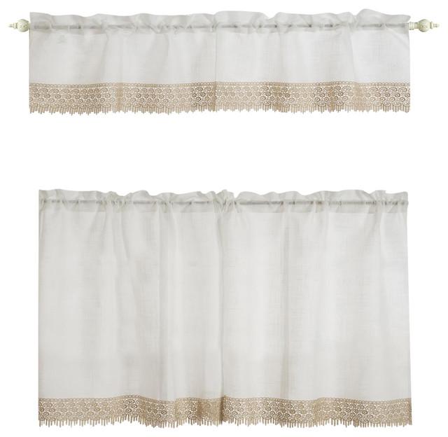 """Evie Macrame Fauxlinen Kitchen Curtain Set, Valance 58""""x15"""", 2 Tiers 30""""x36""""."""