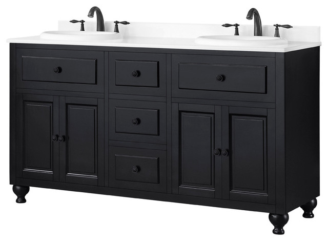 Ove Decors Kensington 60 In Black Double Sink Vanity With Culture Marble Top