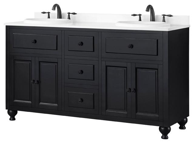Ove Decors Kensington 60 Black Double, Double Bathroom Sink