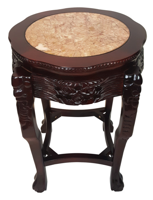 Chinese Table Lotus Design With Marble Top 24 H
