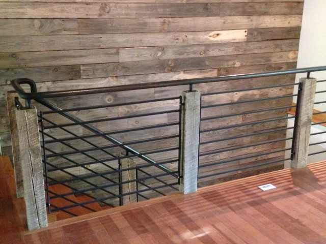 Reclaimed Wood And Steel Railing Industrial Staircase