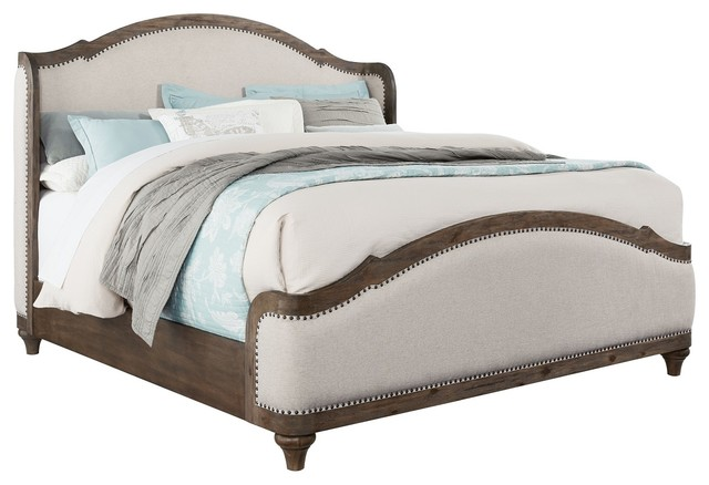 Standard Furniture Parliament Queen Upholstered Platform Bed, Dusty Brown.