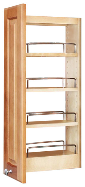 """Rev-A-Shelf 448-Wc-5c 448 Series 9"""" Upper Wall Cabinet Pull Out Shelves, Natural."""