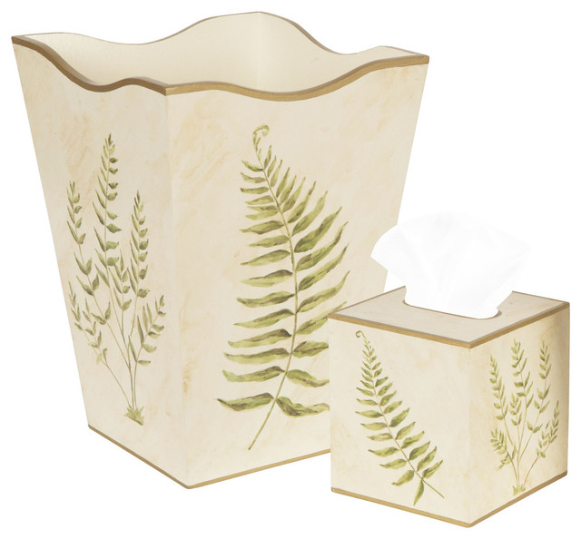 Allen g designs elegant green ferns wastebasket and tissue box set tropical wastebaskets - Elegant wastebasket ...