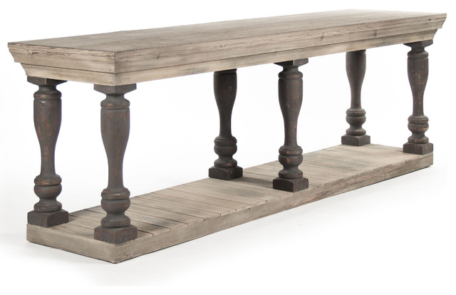 Bartow Masculine French Country Rustic Baluster Long Console Table  Traditional Console Tables