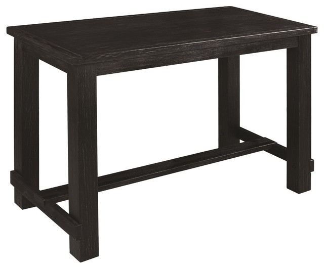 Rectangular Wooden Bar Table With Footrest Black