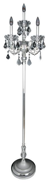 Praetorius 4 Light Floor Lamp Two-Tone Silver, Firenze Clear.