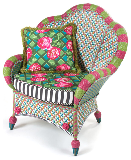 Greenhouse Outdoor Fan Back Chair | MacKenzie Childs  Eclectic Outdoor Lounge Chairs