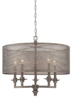 Five Light Metal Mesh Shade Aged Steel Drum Shade Chandelier - Chandeliers - by We Got Lites