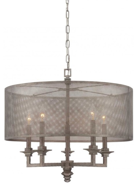 five light metal mesh shade aged steel drum shade chandelier chandeliers