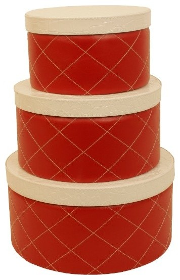 Wald Imports Red & White Paper Board & Faux Leather  Storage Boxes, Set Of 3.