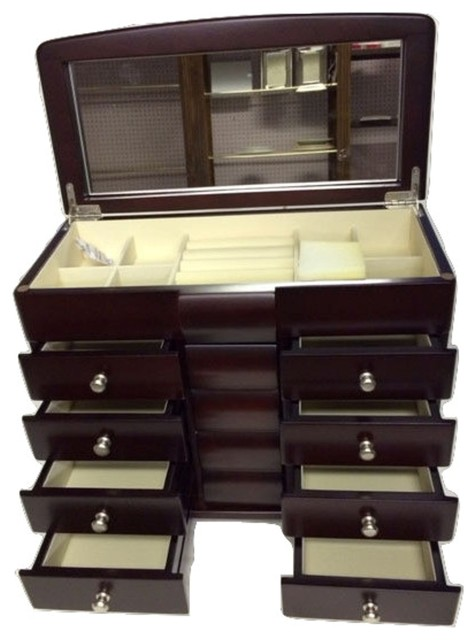 Elegance Jewelry Box 4 Drawer Anti Tarnish Felt Transitional Jewelry Boxes